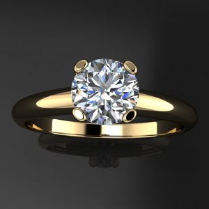 penelope ring – .8 carat round near colorless NEO moissanite engagement ring, 14k yellow gold