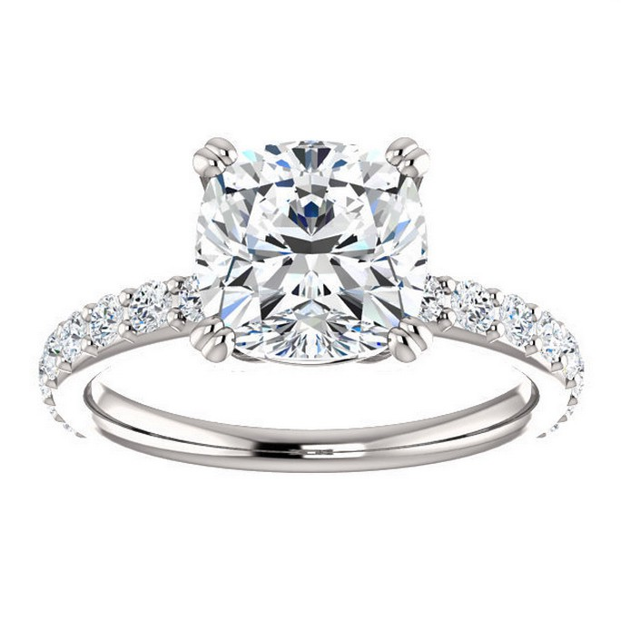 2 5 carat cushion cut forever brilliant moissanite engagement ring