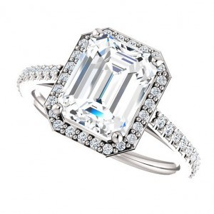 grace ring – 2.5 carat emerald cut halo moissanite and diamond engagement ring