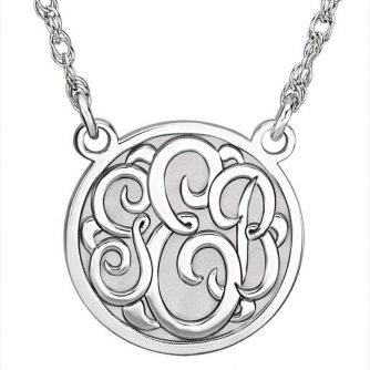 14k White Monogram Disc Necklace