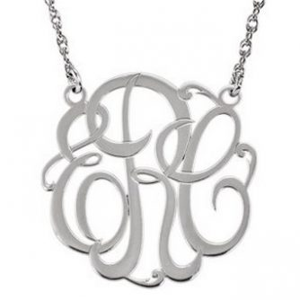 14k White Gold Monogram Necklace