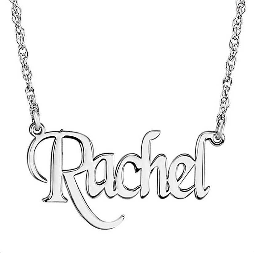 14k White Name Necklace Upright