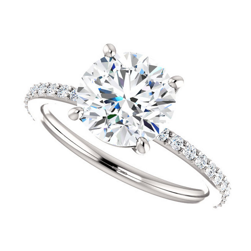 Engagement Rings With Moissanite: 2 Carat Forever Brilliant Moissanite Engagement Ring