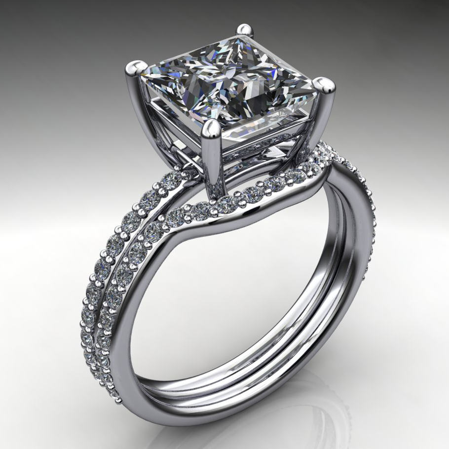 channel engagement spiral square setting style diamonds overlap twisted ctw prong ring princess flush unique wrapped set diamond round with rings
