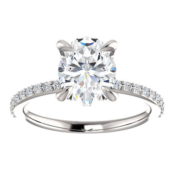 2 carat oval forever one moissanite engagement ring