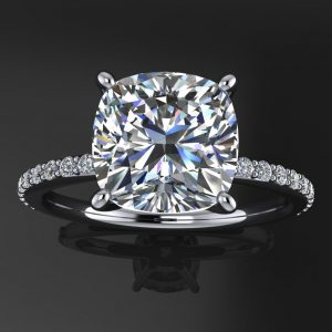 eliza ring – 2.4 carat cushion cut NEO moissanite engagement ring