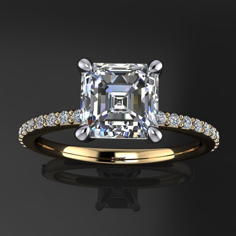 diamond vintage wedding asscher ring cut promise rings engagement
