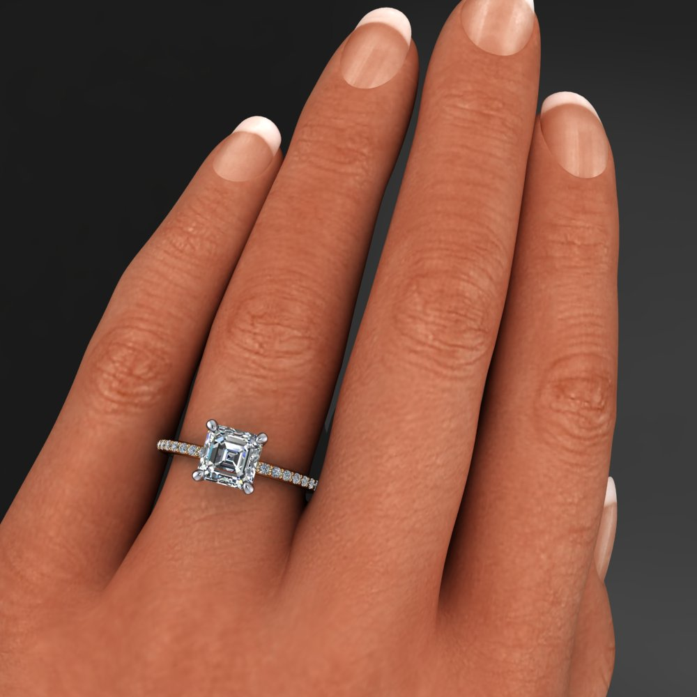 asscher products cut gold solitaire engagement white ring in rings