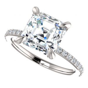shay ring – 2 carat asscher cut forever one moissanite engagement ring with diamonds, set in platinum