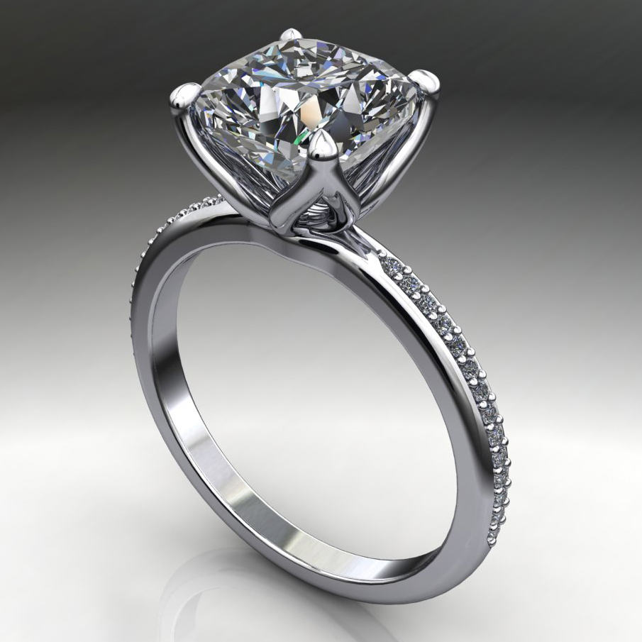 charlize ring 2 5 ct cushion cut forever one moissanite engagement ring