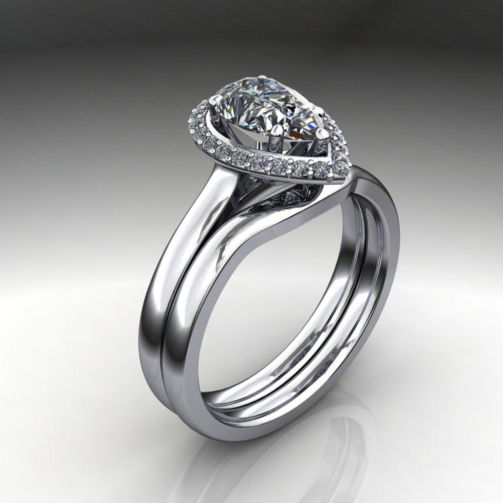 1 carat pear cut neo moissanite engagement ring. Black Bedroom Furniture Sets. Home Design Ideas