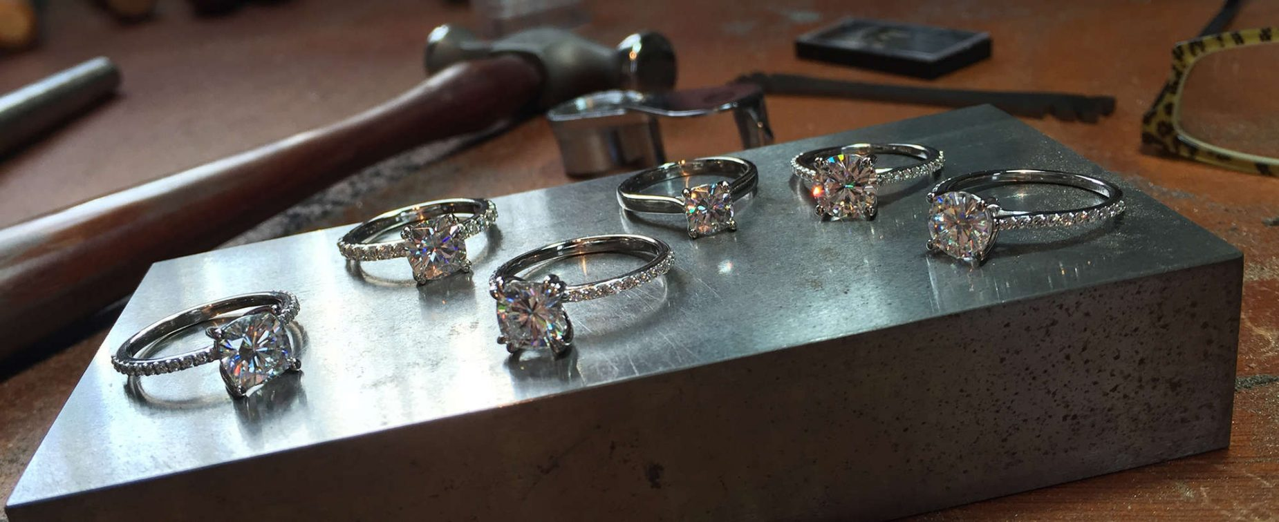 Forever One Group Shot Moissanite Jewel Jewelry Jeweler