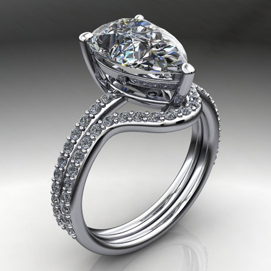 3 carat pear cut NEO moissanite engagement ring