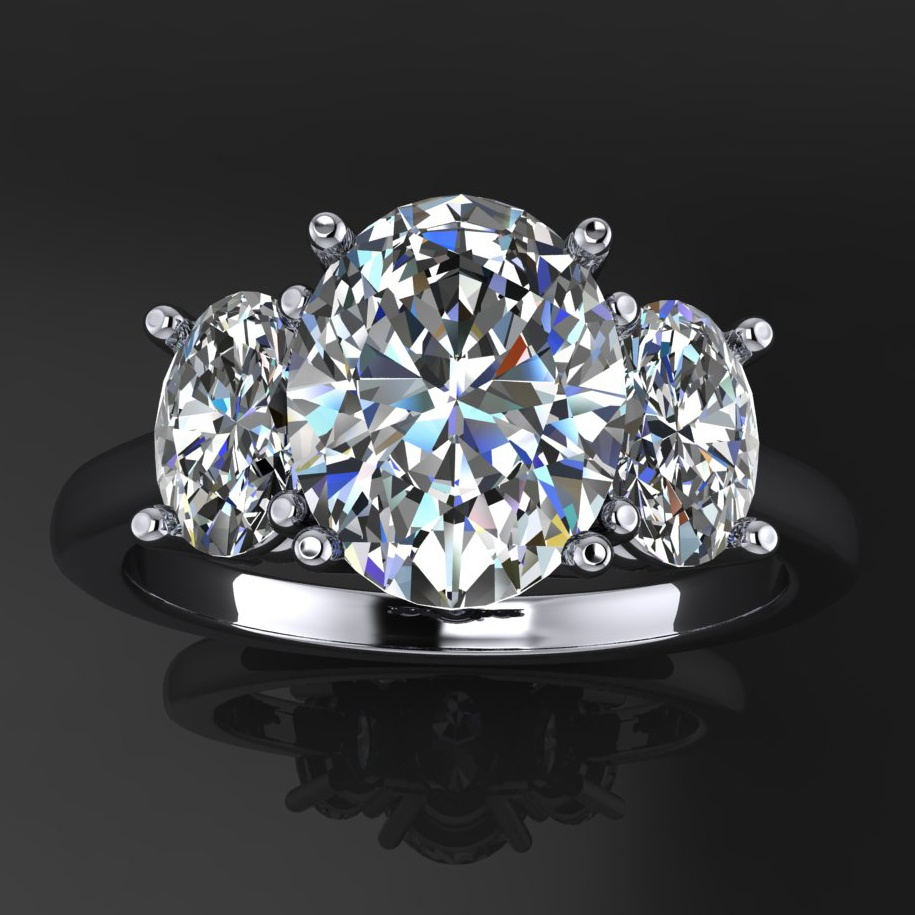 addison ring - 2 carat oval NEO moissanite 3 stone engagement ring ... 1fd8a3b905