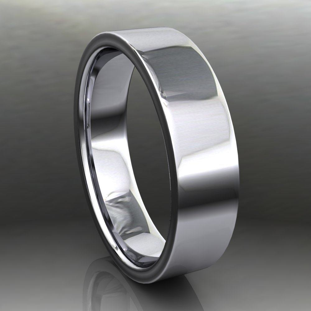 5x1 5mm Parker Band White Gold Side