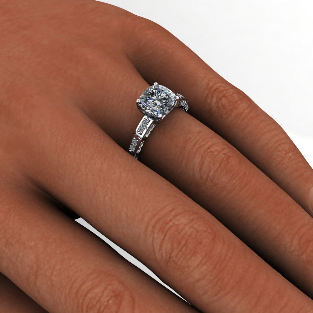 ring vintage cut rings engagement mount rose cushion diamond cusion gold halo semi