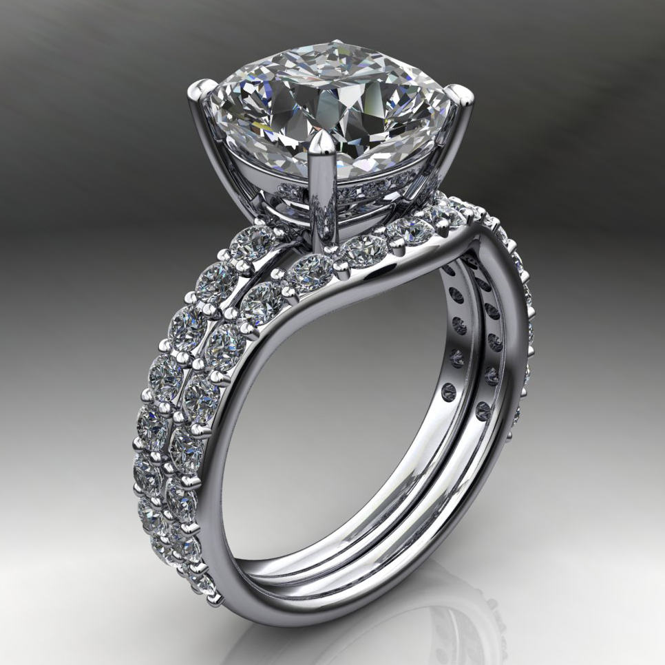 4 carat cushion cut NEO moissanite and diamond engagement ring