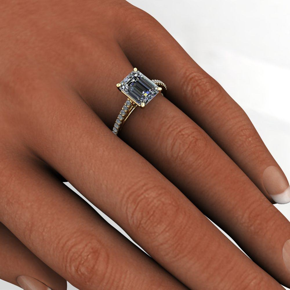 mia ring 2 5 carat emerald cut neo moissanite french pave engagement ring emerald cut wedding bands mm Emerald Mia model
