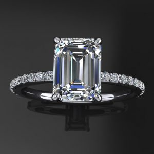 eliza ring – 1.75 carat emerald cut NEO moissanite engagement ring, diamond pave band