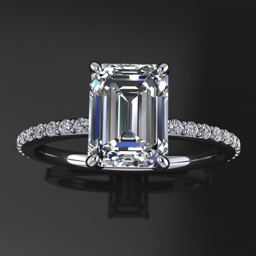 bezel halo jewellery engagement baguette rings bespoke ring with diamond emerald set cut daniel shop